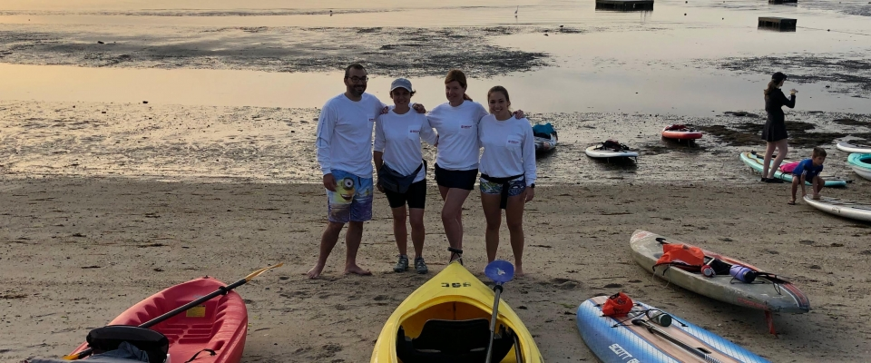 Paddlers looking into Long Island Sound