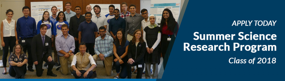 Apply Today for the Summer Science Research Program