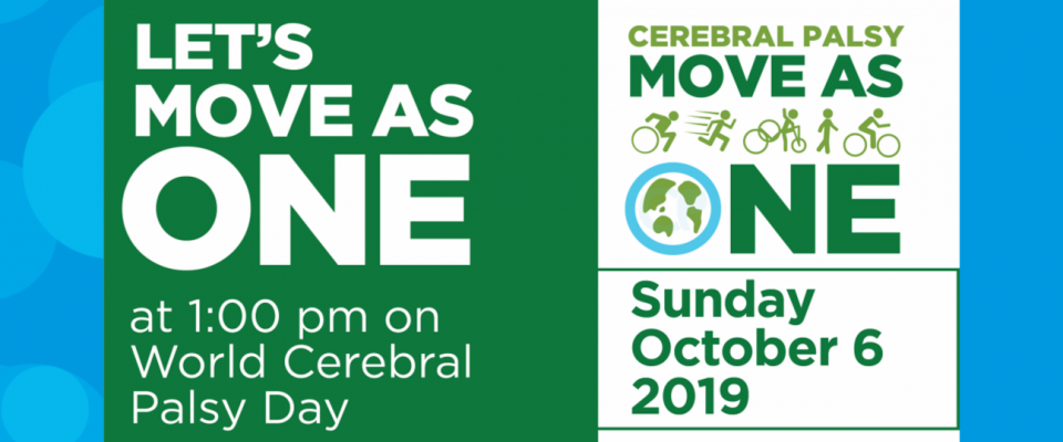 Let's all Move As One on World Cerebral Palsy Day - Sunday 6 October graphic